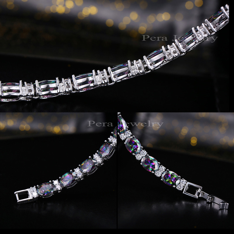 Pera CZ Trendy Çok Renkli Takı Büyük Oval Gökkuşağı Mystic - Kostüm mücevherat - Fotoğraf 4