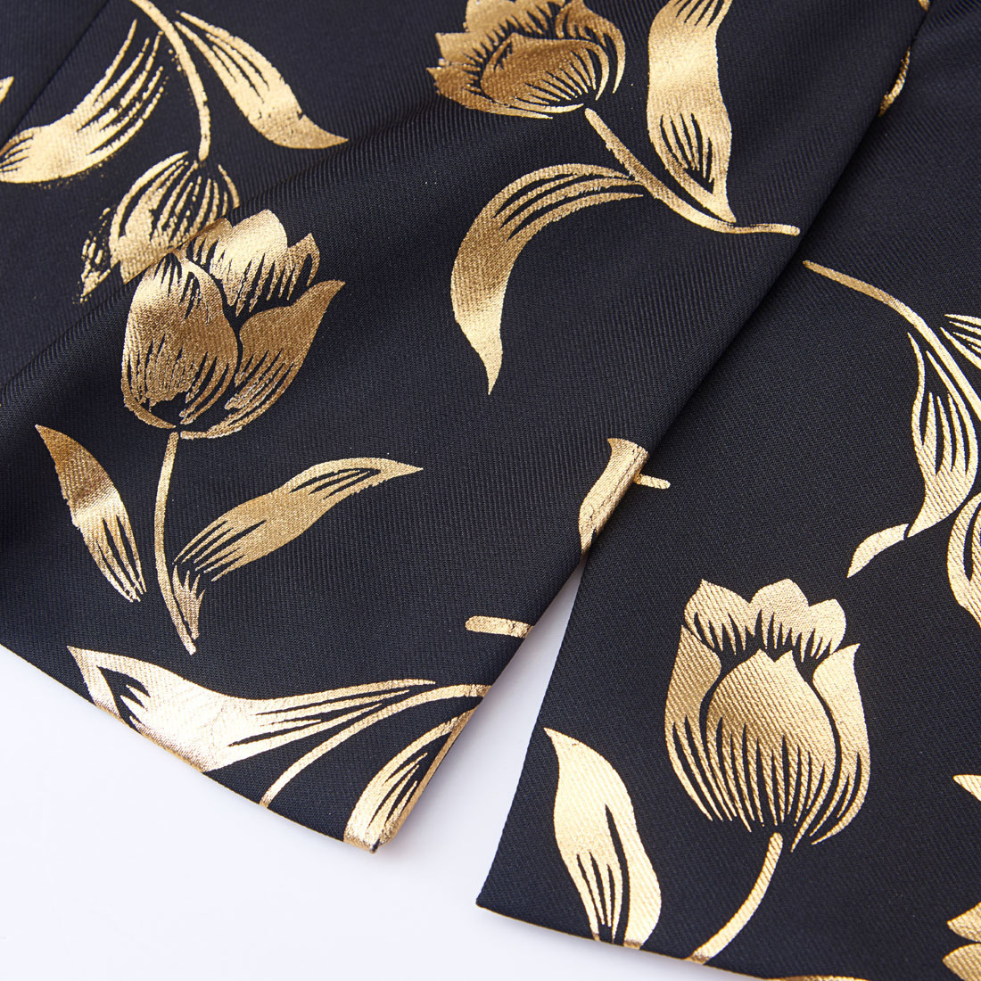 PYJTRL Stylish Gold Tulips Pattern Casual Blazer Men Suit Jacket British Gentleman Wedding Grooms Slim Fit Fashion Coat Outfit