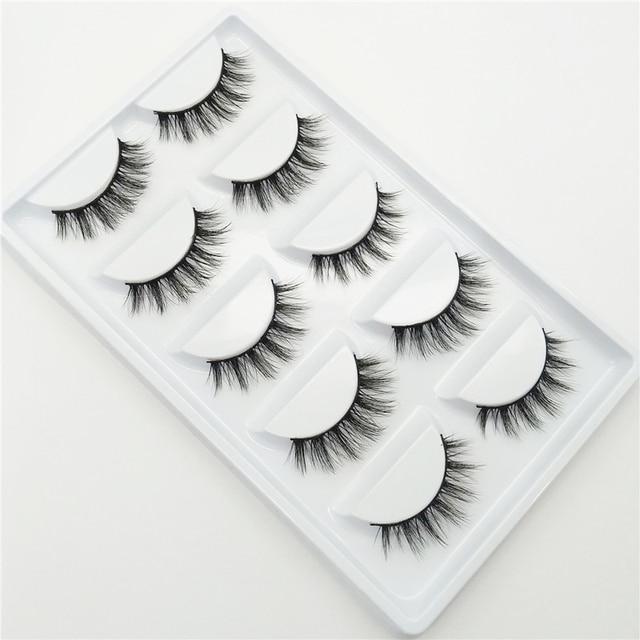 YOKPN Short Cross 3D False Eyelashes Natural Soft Black Mink Hair Eye Lashes Makeup Tools Women Fake Eyelashes 5 Pair 3