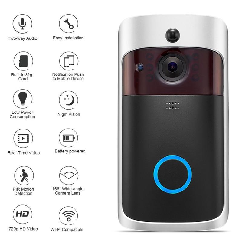 WiFi Smart Draadloze Beveiliging Deurbel HD 720 p Visuele Intercom Opname Video Deurtelefoon Remote Home Monitoring Nachtzicht