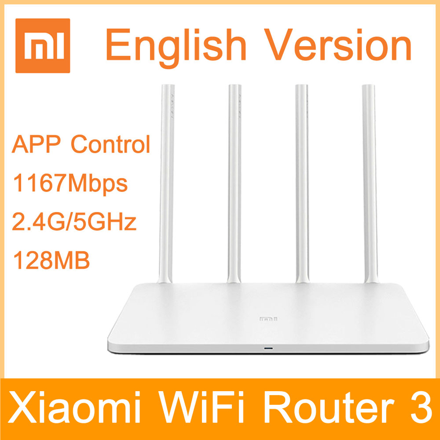 English Version EU Plug Xiaomi WIFI Router 3 Dual Band APP Control 1167Mbps WiFi Repeater 2.4G/5GHz 128MB WiFi Wireless Routers xiaomi mi wi fi router 3 dual band 1167mbps english version