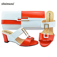 Italian-Shoes Wedges Matching-Bags White Fashion Discount Mix with Women Orange-Color