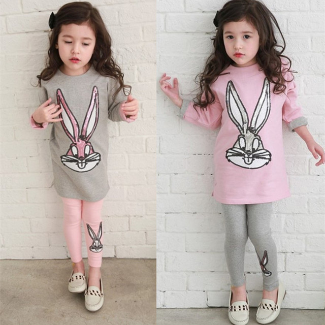 2016 New Autumn Winter Kids Clothes Girls Clothing Sets Velvet Dresses + Legging Children Clothing Kids Girl Clothes Set