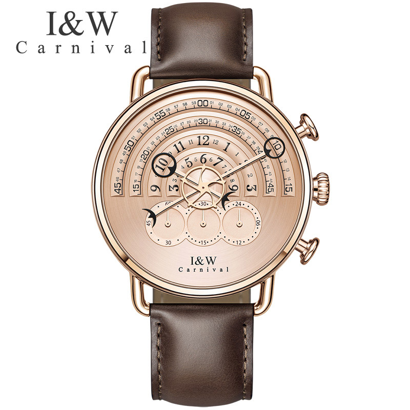 Unique Design Casual Watches Carnival Men Chronograph Sports Quartz Watch Leather Wristwatches Sapphire Rose gold Case 2017 seiko watch premier series sapphire chronograph quartz men s watch snde23p1