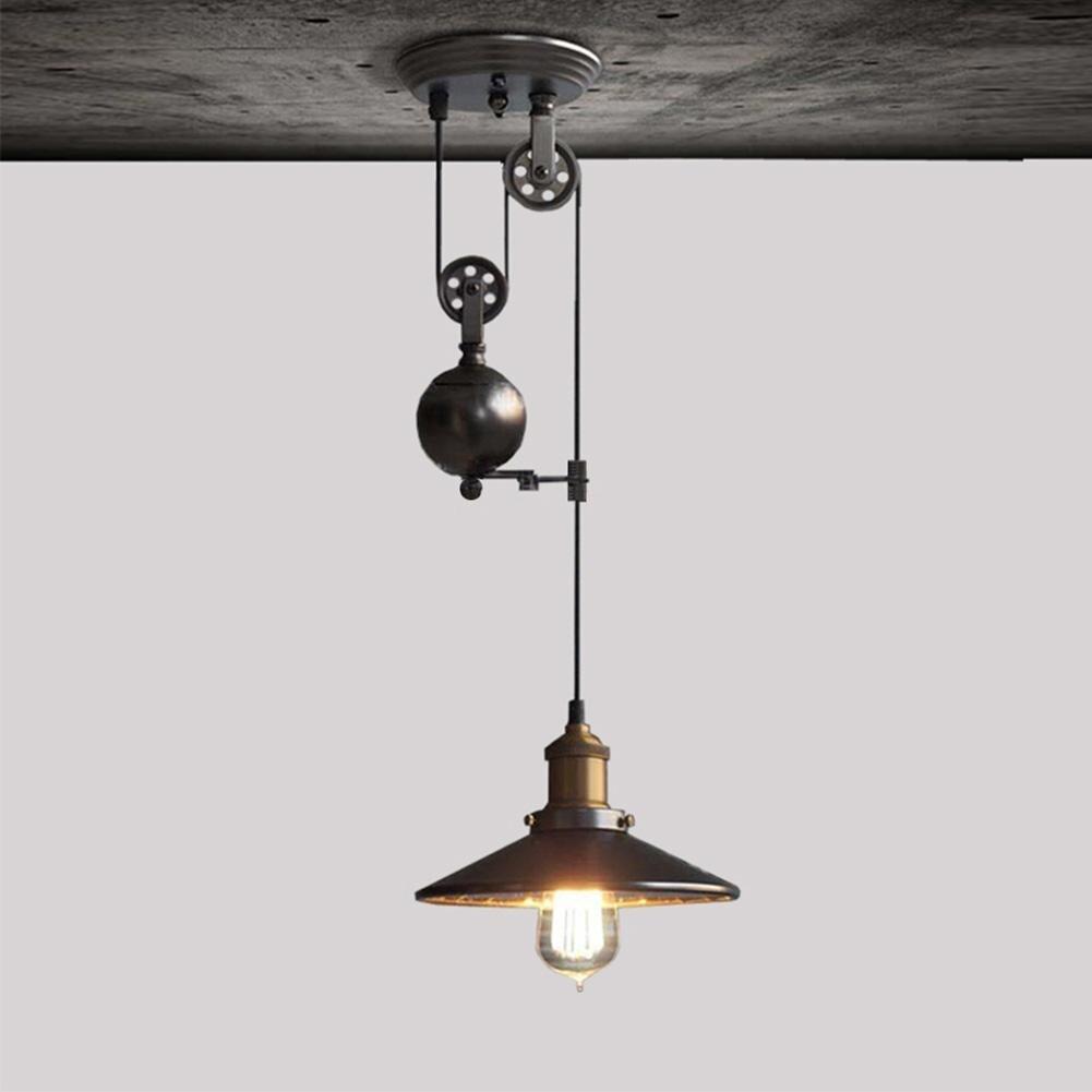 LumiParty Творческий Ретро вверх-вниз Лифт шкив железа люстра лампа без лампы