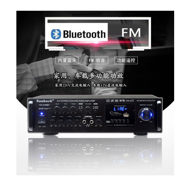 Kaolanhon 200W * 2 12v 220v TAV 6188BT גבוהה כוח Bluetooth מגבר SD USB FM ביתי HIFI רכב מגבר עם שלט רחוק