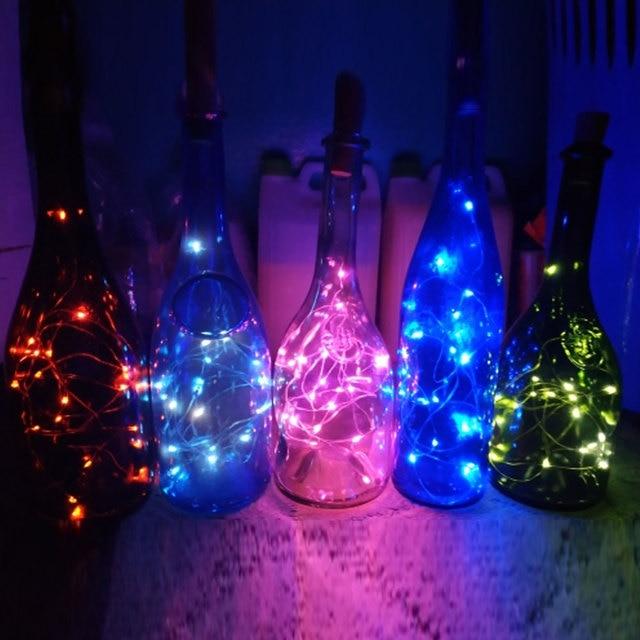 10LED/15LED/20LED Garland Solar Wine Bottle Lights Solar Cork Fairy Lights Christmas Light Copper Garland Wire String 5