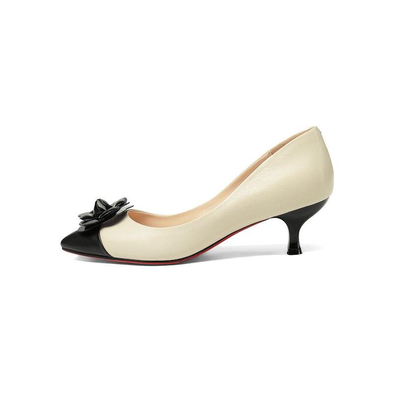 Superstar słodkie czarny morela kobiety pompy prawdziwej skóry buty szpilki Stiletto 5 cm wieczór marka duży rozmiar 43 w Buty damskie na słupku od Buty na  Grupa 2