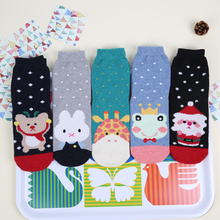 Фотография Lovely Women middle Sock Animal printed Colorful Dots Funny Woman Socks Autumn Winter Warm Sock for female