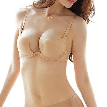 Fashion Sexy Women Bra Deep U Low Cut Super Push Up Backless Bra Brassiere Sutian Underwear  Bralette Sujetador Newest brassiere