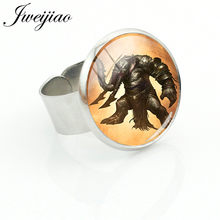 JWEIJIAO Hot Game God Of War Ring Adjustable Metal Finger Rings GLass Cabochon Dome Silver Color Men Women Punk Jewelry GW20(China)
