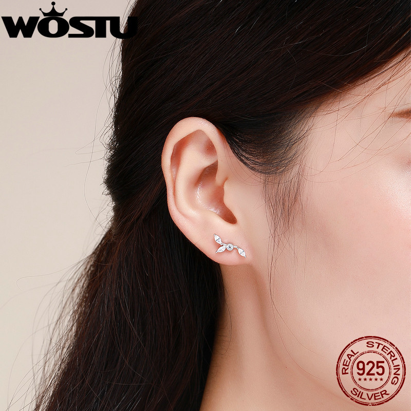WOSTU Hot Sale 925 Sterling Silver Dazzling Leaves Stud Earrings For Women Female Original Design Silver Jewelry Gift CQE429 2