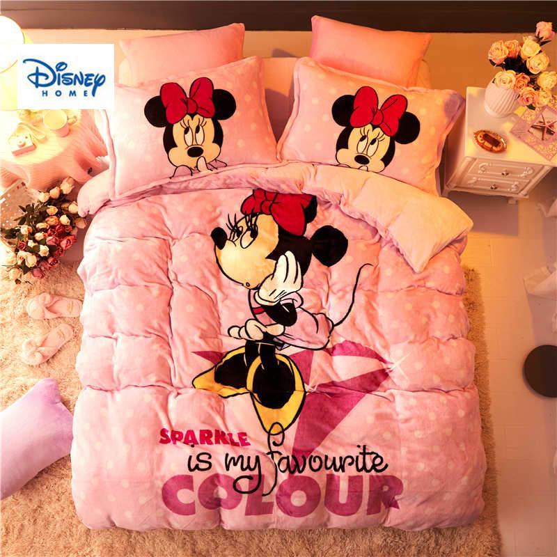 Disney flanelle polaire Minnie souris couette ensemble de literie reine taille housse de couette double 3d complet linge de lit doux combinaison filles enfants