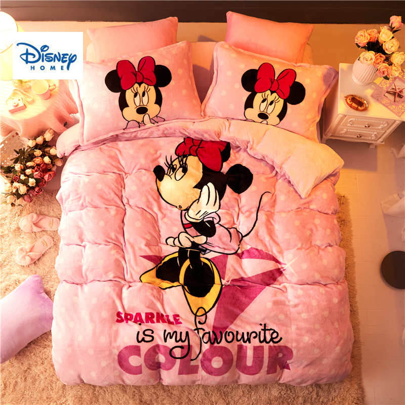 Disney flannel fleece Minnie Mouse comforter bedding set ...