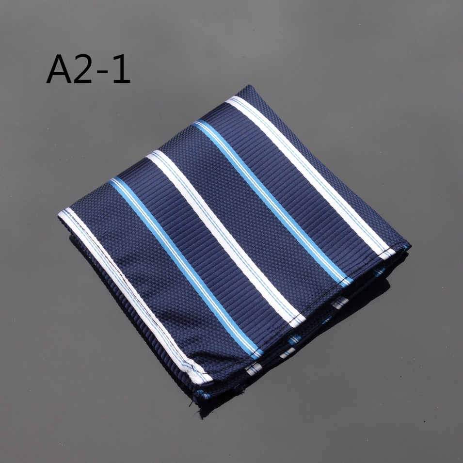 Ikepeibao Handkerchief Striped Blue White Hanky Men Tie Jacquard Woven Pocket Square