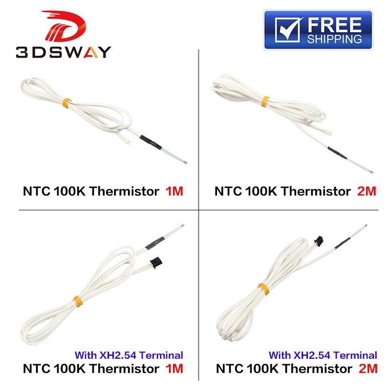 3DSWAY 3D Peça Da Impressora 1 M/2 M Vidro Selado Termistor Sensor de Temperatura NTC 100K ohm B3950 com o Cabo do Terminal XH2.54 1pc