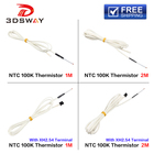 3DSWAY 3D Printer Part 1M/2M 100K ohm NTC Glass Sealed Thermistor Temperature Sensor B3950 with Cable XH2.54 Terminal 1pc