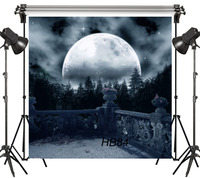 LB 8x8FT Fairytale Huge Full Moon Dark Forest Seamless Washable No folds 100% Polyester Backdrop Background Photography Studio