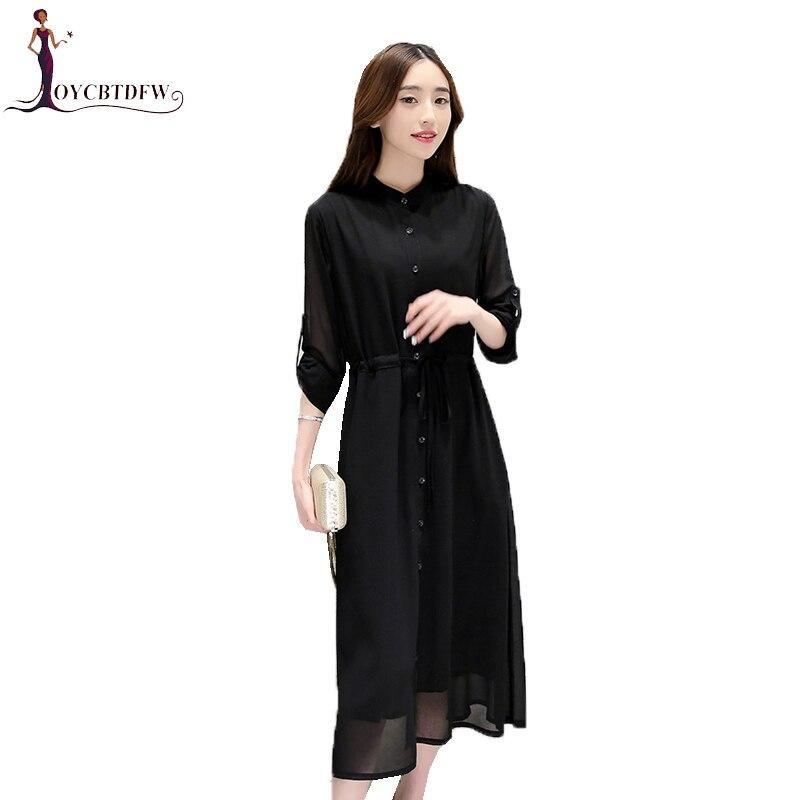 Large Size Women Dress S-4XL 2018 Spring New Temperament Cardigan Solid Color Chiffon Dress Slim Collar Long-sleeved Dress Z155