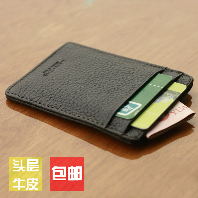 outlet store 703cd 72cc0 US $10.54 |Lan men's small card holder male cowhide coin purse small wallet  bank card holder genuine leather card case driving license-in Wallets from  ...