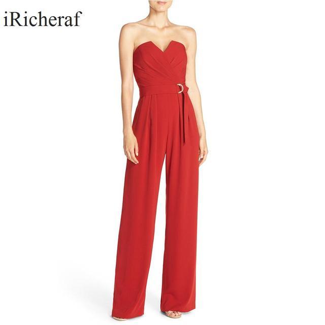 Red Jumpsuit For Women Sexy Strapless Slim Waist Multi-folded Solid Elegant Plus Size Feminino Hot Sale Sleeveless Skinny Romper