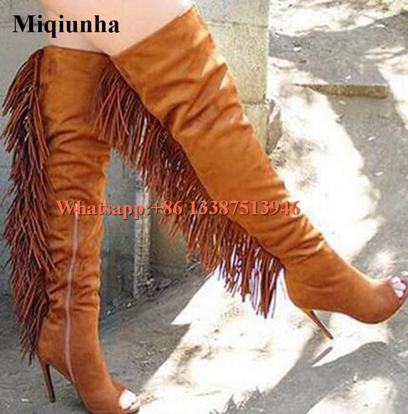 High Quality Women Fashion Open Toe Suede Leather Over Knee Back Tassels Gladiator Boots Cut-out Thigh High Heel Long Boots nyx professional makeup универсальный консилер gotcha covered concealer beige 03