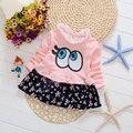 2017 primavera outono desgaste do bebê da menina roupas de impressão amor dress para o infante do bebê design da marca de roupas vestidos de princesa partido dress