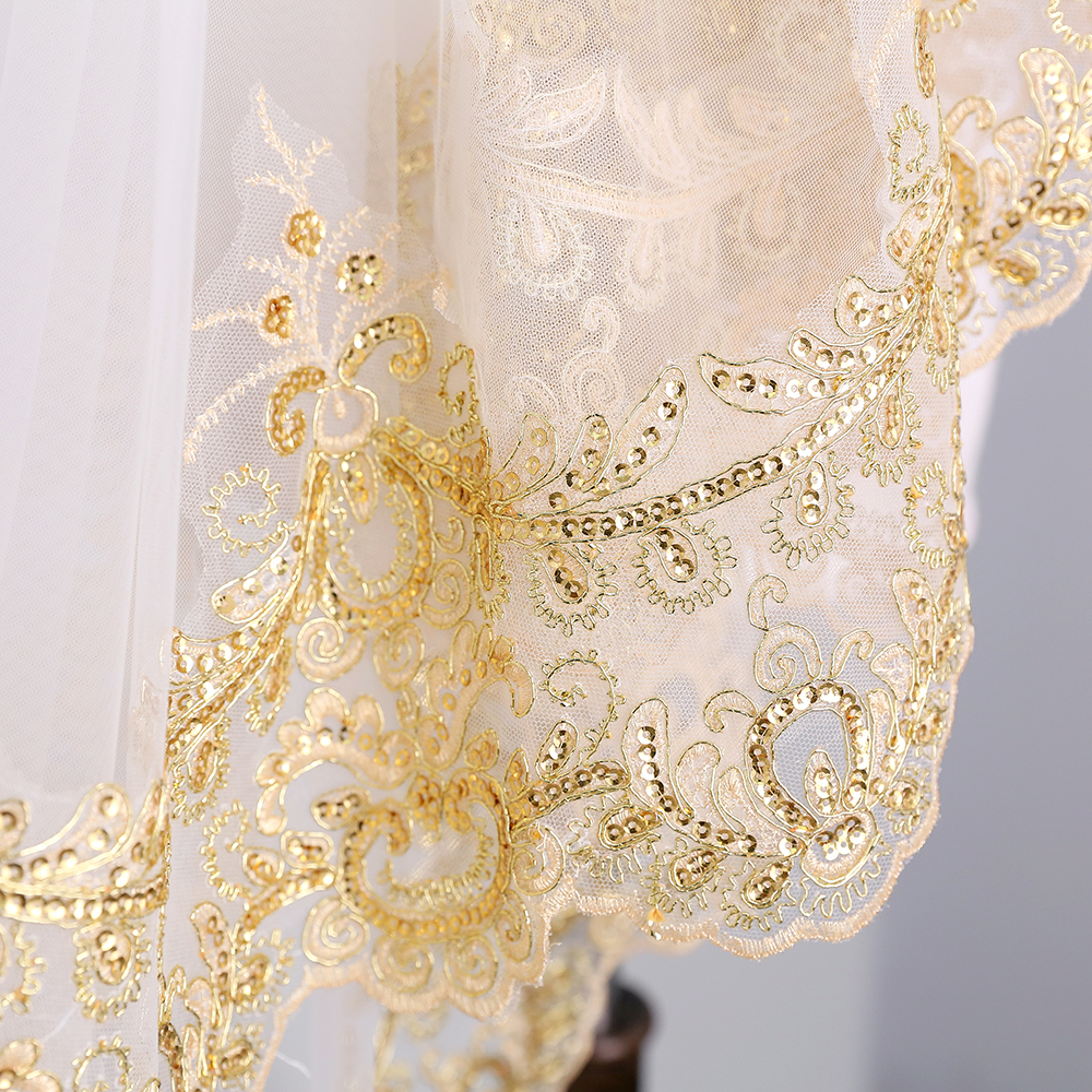 Купить с кэшбэком Luxury 3.5M White Ivory Cathedral Wedding Veils Long  Sequins Applique Edge Bridal Veil with Comb Wedding Accessories Bride Veil