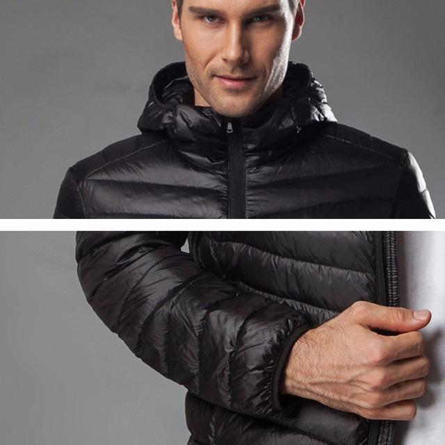 Holyrising Winter Coat Men Light Duck Down Jaket Turn Collar Coat For Men Hooded Down Coat Zipper Mens Clothing S-6XL 18446-5