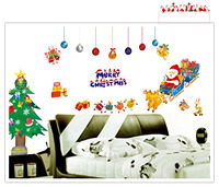 Removable Christmas Santa Claus Gifts Living Room Window Decoration Wall Sticker Poster Home Interior Mural Wall