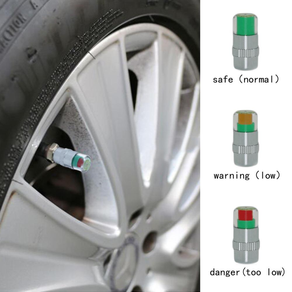4 X Car Air Pressure Alert Indicator Car Valve Stem Monitor Sensor Caps Car Tire 2.2 Bar(32PSI) Or 2.4 Bar(36PSI)