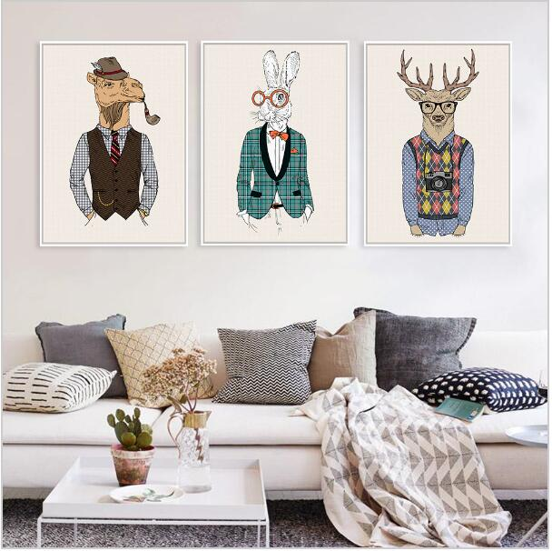Fashion animals giraffe zebra horse vintage art prints poster hippie wall picture canvas painting no framed