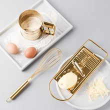 Orisinalitas Dapur Baking Alat Suit Golden Stainless Steel Whisk Skrining Piala Scraper Telur Mixer Mengaduk Rotary 1 Pc(China)