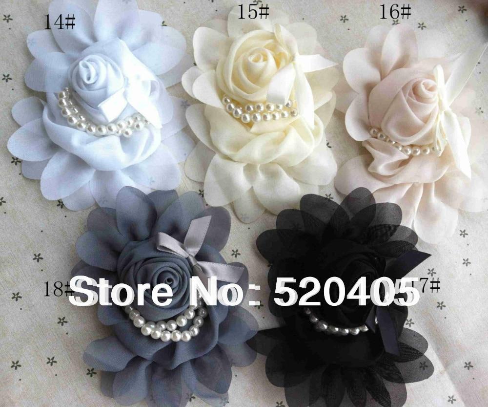 Wholesale 50pcs Chiffon Rose Flowers With Pearl Bead Mini Bow Soft