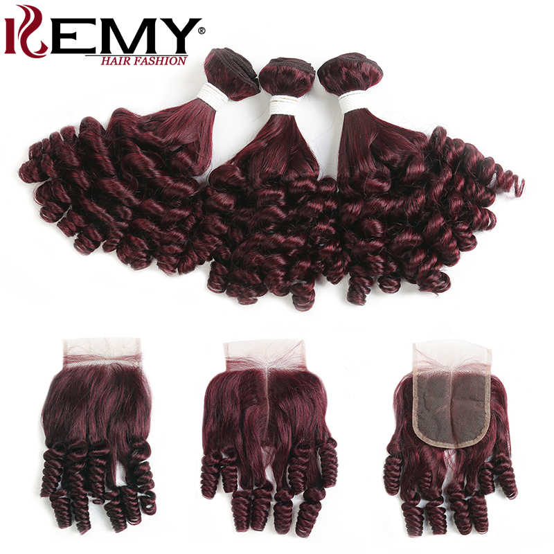 99J/Burgundy Brazilian Human Hair Bundles With Closure 4x4 Funmi Curly 3/4 Bundles With Closure Non-Remy Hair Weaves  KEMY HAIR