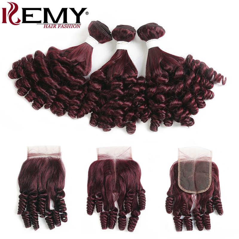 99J/бордовые бразильские человеческие волосы пучки с закрытием 4x4 Funmi Curly 3/4 пучки с закрытием не Реми волосы ткет kemy Hair