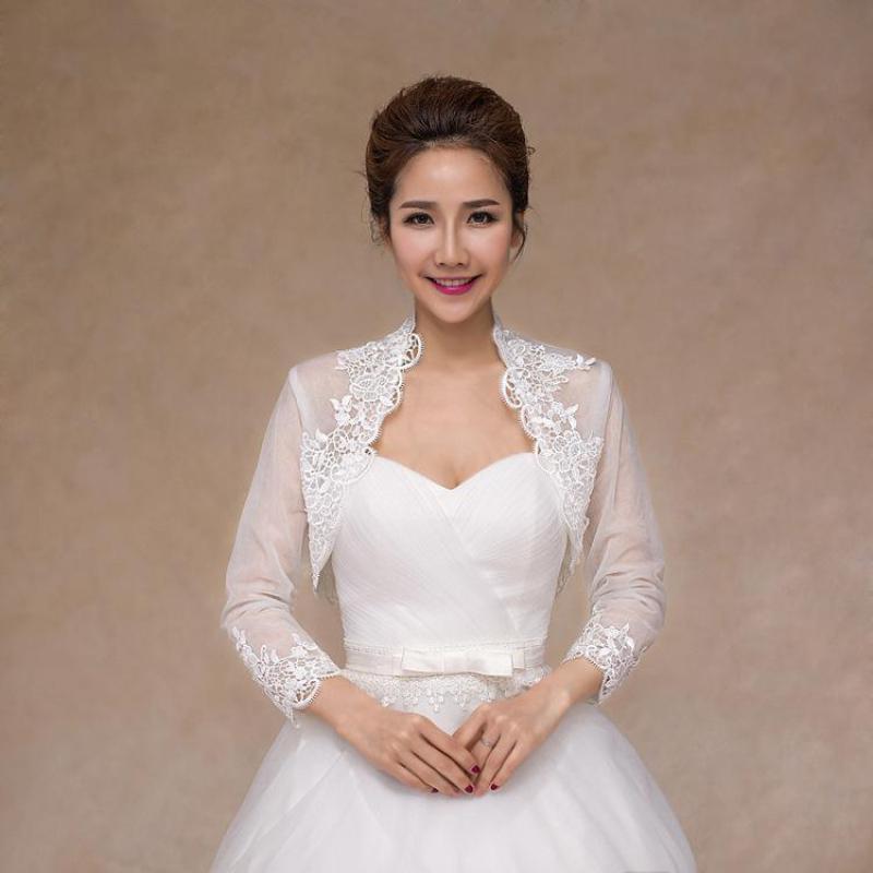 White Lace Bridal Formal Jackets Cape Mariage 2020 Women Evening Tulle Bolero Long Sleeve Wedding Wraps Shawl Bride Coat