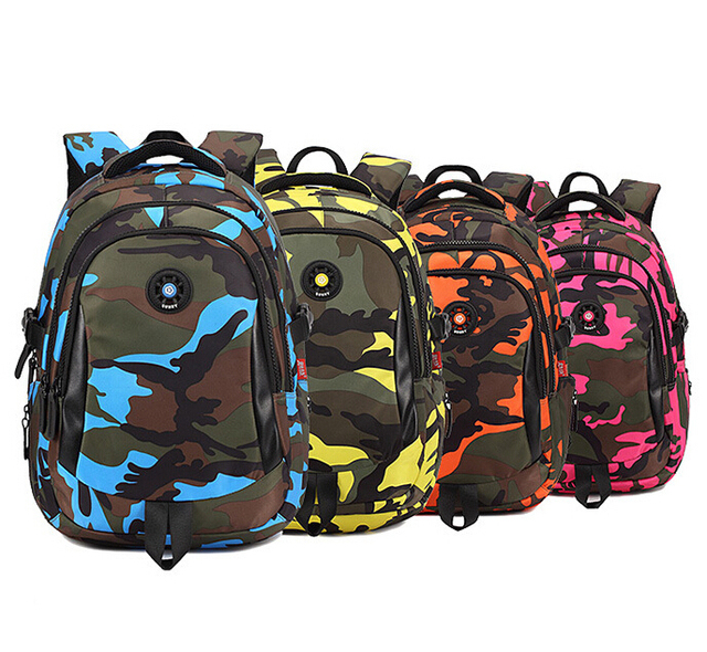 Primary Students Backpack Child School Bags Camo Kids Satchel Boys S