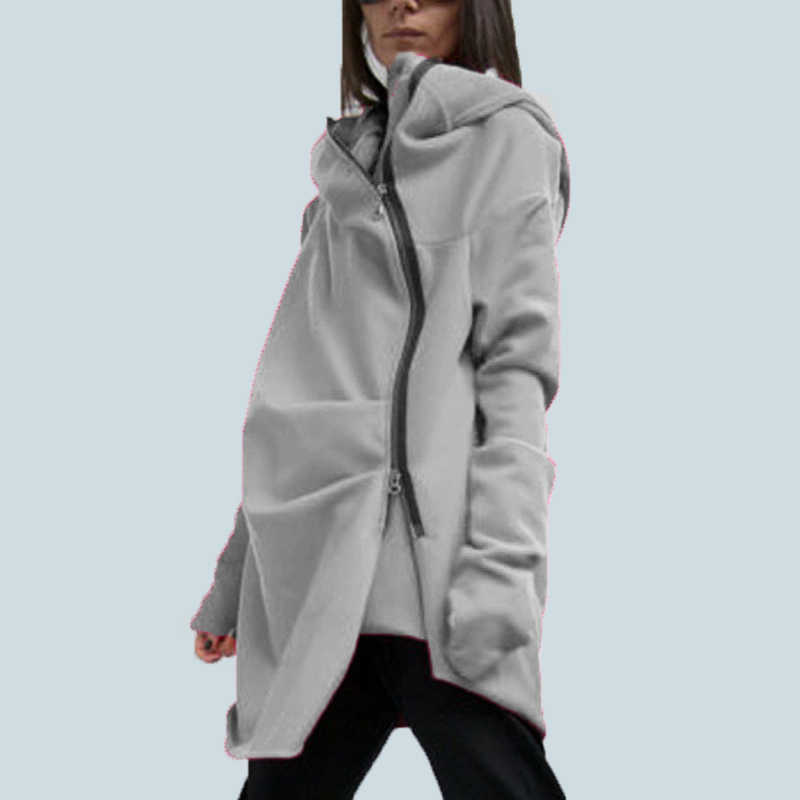 S-5XL ZANZEA Oversize Vrouwen Mode Losse Casual Asymmetrische zoom Rits Hooded Sweater Jas Uitloper Jas Capuchon Sweats