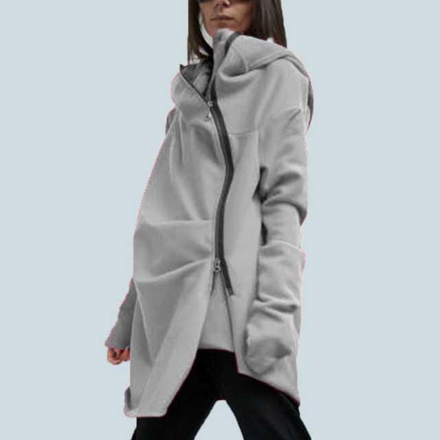 db0247e3 S-5XL ZANZEA Oversize Women Fashion Loose Casual Asymmetrical hem Zipper  Hooded Sweatshirt Coat Outwear