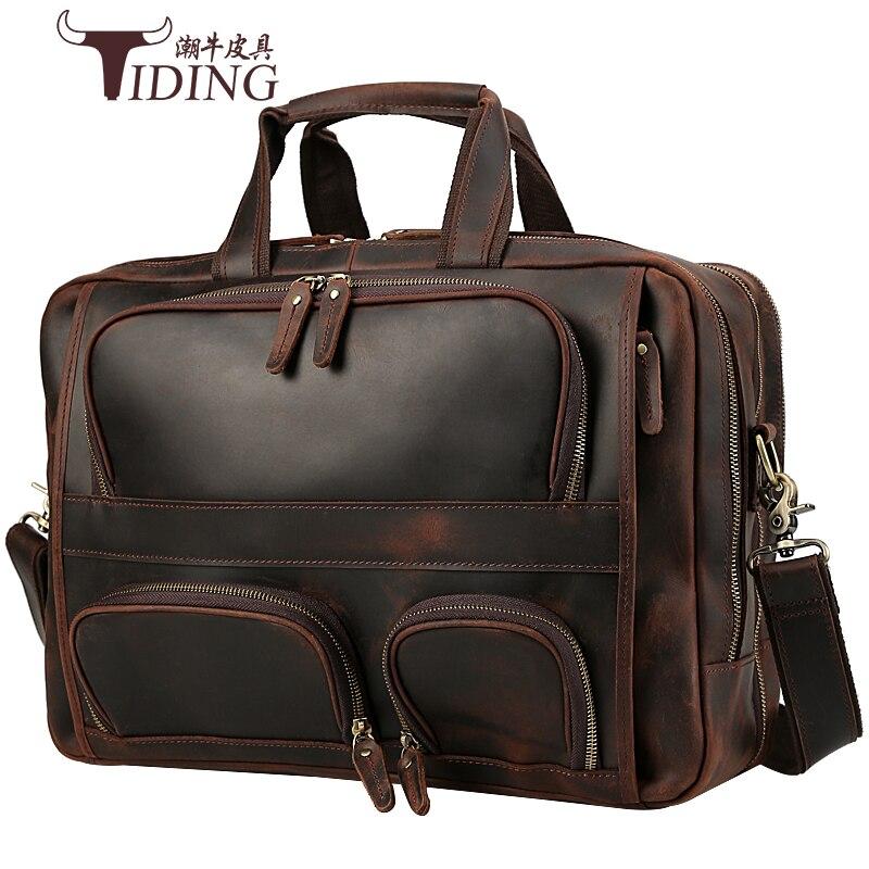 Men's Briefcase Crazy Horse Leather Business Vintage Travel Brand Laptop Briefcases Handbag Bags Designer Leather Shoulder Bag