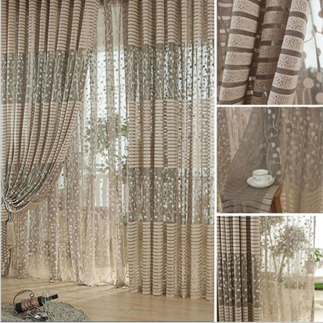 Curtains for bedroom 2016 - 2016 Warp Knitting Leaf Pattern Tulle Window Curtain Sheer Curtains For Livingroom Bedroom Jacquard Embroidered Curtain Panel