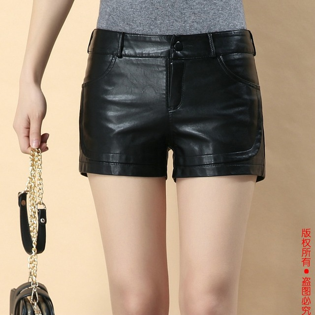 2017 Hot Sales New Autumn Winter Women faux leather Shorts PU Leather Solid Black Color Female Streetwear Shorts Women Fashion
