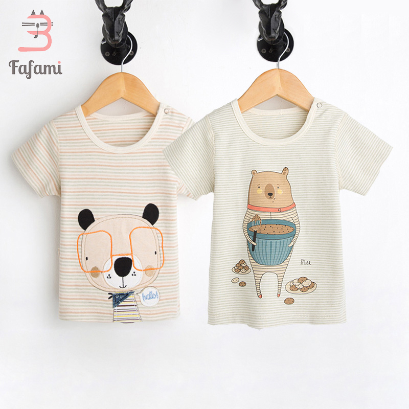 2 pcs/lot Baby Clothes Organic Tiny Cotton Top Baby Boy Girl Clothing Tees lucky child Babies cute t-shirt Newborn Bebe Clothes