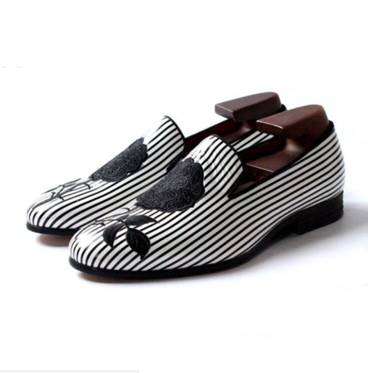 spring autumn derby shoes man Black and white striped embroidery rose party wedding shoes men flats