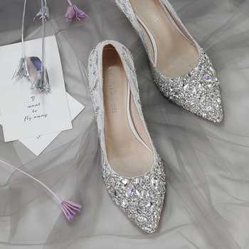 Wedding Shoes Female New Crystal Shoes Princess Diamond Silver Bride Shoe Tip Medium-heeled Banquet High-heeled Shoes - DISCOUNT ITEM  27% OFF All Category