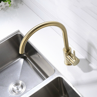 Brushed Gold Kitchen Faucet Solid Brass Sink Tap Single Holder Single Hole Water Mixer Tap Deck Mounted Bathroom Accessories