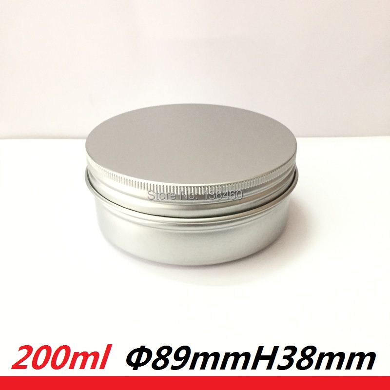 Silver matt 200ml Metal aluminum tin 200g cosmetic tins can empty oil wax container box pomade