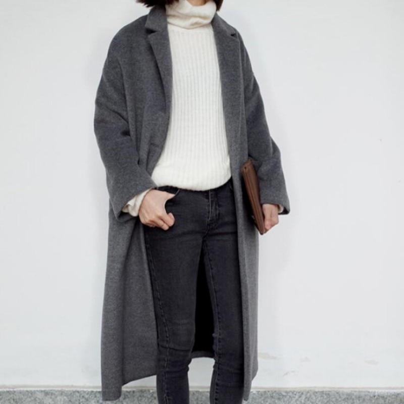 Slim Mode Femmes Vestes Manteau Laine Green Rétro Fit Outwears Taille deep Femme Printemps S Nouvelle Black Long Longues Oversize Dames l Mélangée qt5xWE