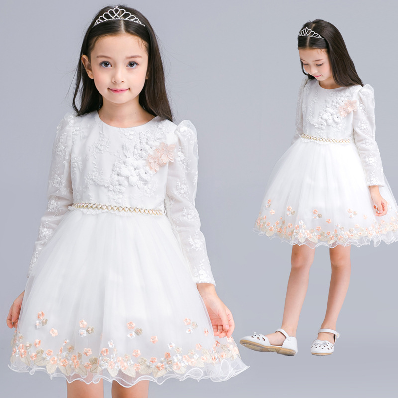 Kids Girls Long Sleeve White Girl Flower Dress Pageant Wedding Party Formal Occasion Bridesmaid Wedding Girls Tulle Dress 4 15y little big girls clothes rustic flower girl wedding occasion junior bridesmaid kids cocktail dresses for 14 year girls